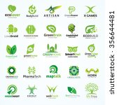 logo collection set with green...   Shutterstock .eps vector #356644481