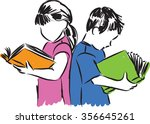 children boy and girl reading... | Shutterstock .eps vector #356645261