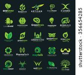 logo collection set with green...   Shutterstock .eps vector #356654285