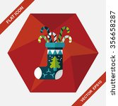 christmas stocking flat icon... | Shutterstock .eps vector #356658287