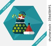 christmas gift flat icon with... | Shutterstock .eps vector #356658491
