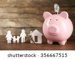 pig money box and paper decor... | Shutterstock . vector #356667515