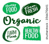 set of organic and farm fresh... | Shutterstock .eps vector #356670641