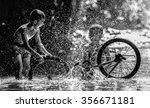 two boy joyful with splashing... | Shutterstock . vector #356671181