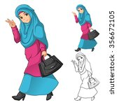muslim girl fashion wearing... | Shutterstock .eps vector #356672105