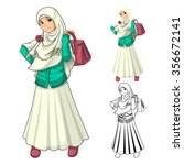 muslim girl fashion wearing... | Shutterstock .eps vector #356672141