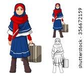 muslim girl fashion wearing... | Shutterstock .eps vector #356672159