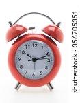 red classic alarm clock... | Shutterstock . vector #356705351