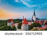 sunset over old city town... | Shutterstock . vector #356715905