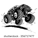 vector cartoon monster truck.... | Shutterstock .eps vector #356717477