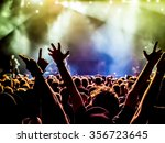 silhouettes of concert crowd in ... | Shutterstock . vector #356723645