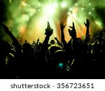 silhouettes of concert crowd in ... | Shutterstock . vector #356723651