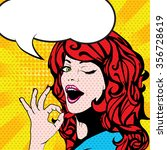 pop art woman winks. vector... | Shutterstock .eps vector #356728619
