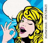 pop art woman winks. vector... | Shutterstock .eps vector #356728625
