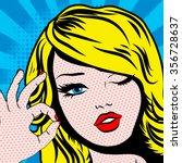 pop art woman winks. vector... | Shutterstock .eps vector #356728637