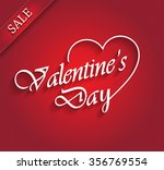 valentines day sale with ribbon.... | Shutterstock .eps vector #356769554