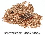 copper ingot and granules on...   Shutterstock . vector #356778569