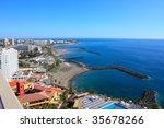 coast beach and city skyline.... | Shutterstock . vector #35678266