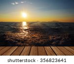 wood texture and sunset at sea   Shutterstock . vector #356823641