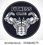 fitness club logo with stylized ... | Shutterstock .eps vector #356868275
