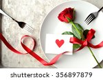 Stock photo red rose with red heart message card on the white dish image of meal on valentines day 356897879