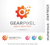 gear pixel logo template design ...