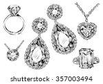 hand drawn jewelry set | Shutterstock .eps vector #357003494