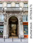 Small photo of PARIS, FRANCE - JUNE 2, 2015: Passage Bourg-L'Abbe is a Parisian walkway located in the second district. Built in 1828 by Auguste Lusson.