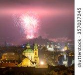 prague fireworks during new... | Shutterstock . vector #357027245