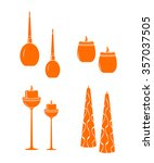 candle burning icon color set... | Shutterstock .eps vector #357037505