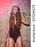 beautiful glamorous brunette... | Shutterstock . vector #357039275