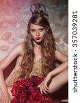 beautiful glamorous brunette... | Shutterstock . vector #357039281