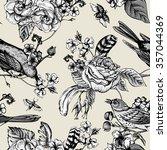 hand drawn monochrome spring... | Shutterstock .eps vector #357044369