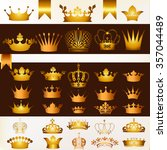 collection of  vector crowns in ... | Shutterstock .eps vector #357044489