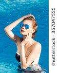 beautiful brown hair woman in... | Shutterstock . vector #357047525
