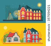 a set of building and city...   Shutterstock .eps vector #357054221
