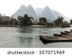 bamboo rafts scenery on the li... | Shutterstock . vector #357071969