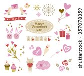set of cute valentines elements | Shutterstock .eps vector #357078359