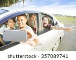 young  people enjoying road... | Shutterstock . vector #357089741