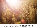 blurred hand touching wheat... | Shutterstock . vector #357092819