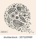 amazing bird feathers  flowers  ... | Shutterstock .eps vector #357105989
