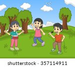 kids playing music in the park... | Shutterstock .eps vector #357114911