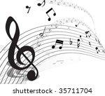 vector musical notes staff...   Shutterstock .eps vector #35711704
