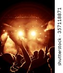 silhouettes of concert crowd in ... | Shutterstock . vector #357118871
