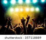 silhouettes of concert crowd in ... | Shutterstock . vector #357118889