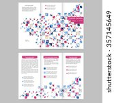 colored tri fold business...   Shutterstock .eps vector #357145649