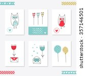 set of 6 romantic cards... | Shutterstock .eps vector #357146501