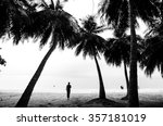 people at the beach with... | Shutterstock . vector #357181019