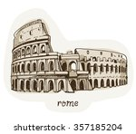 drawing of coliseum  colosseum... | Shutterstock .eps vector #357185204