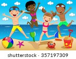 children or kids in swimsuit... | Shutterstock .eps vector #357197309